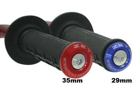 Końcówki kierownicy ZETA czerwone 29 mm ZE48-7006