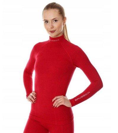 Koszulka termoaktywna damska Brubeck MERINO Extreme Wool malina LS11930