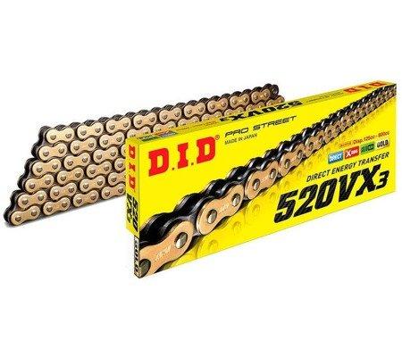 Łańcuch napędowy DID 520VX3 122 ogniw złoty otwarty z zapinką klipsem